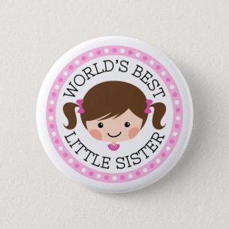 Worlds best little sister cartoon girl brown hair button