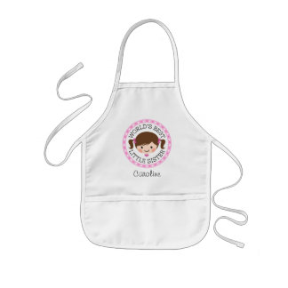 Worlds best little sister cartoon girl brown hair kids' apron