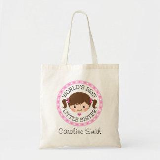 Worlds best little sister cartoon girl brown hair tote bag