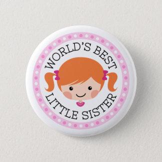 Worlds best little sister cartoon red brown hair button