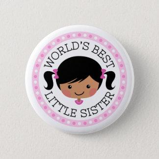 Worlds best little sister cartoon with black hair pinback button