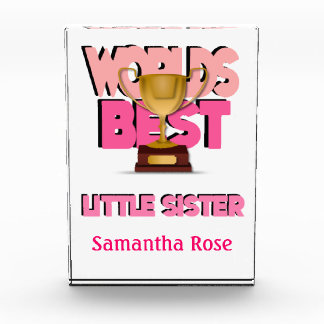 Worlds Best Little Sister Pink Personalized Award