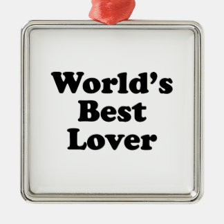 World's Best Lover Square Metal Christmas Ornament