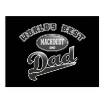 World's Best Machinist & Dad Postcard