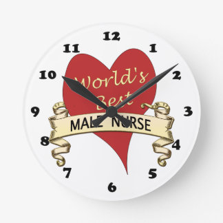 World's Best Male Nurse Round Wall Clock
