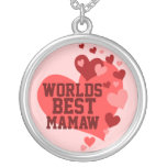 Worlds Best Mamaw (or any name) Round Pendant Necklace