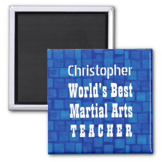 World's Best Martial Arts Teacher Blue Bricks A01A 2 Inch Square Magnet