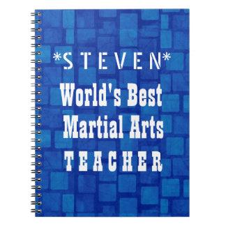 World's Best Martial Arts Teacher Blue Bricks A07 Spiral Note Book