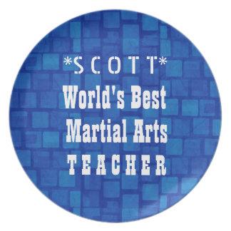 World's Best Martial Arts Teacher Blue Bricks A10 Melamine Plate
