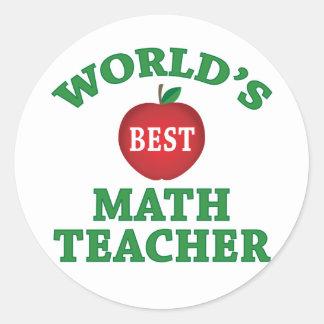 World's Best Math Teacher Classic Round Sticker