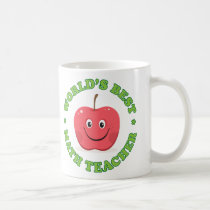 Worlds best math teacher mug, red apple coffee mug