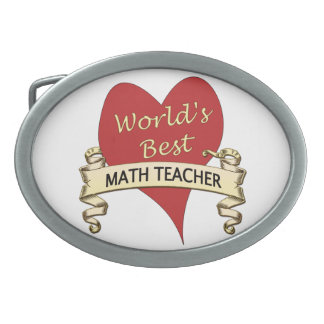 World's Best Math Teacher Oval Belt Buckle