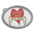 World's Best Math Teacher Oval Belt Buckles
