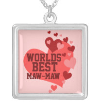 Worlds Best Maw-Maw (or any name) Silver Plated Necklace