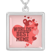 Worlds Best MeMe (or any name) Silver Plated Necklace