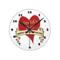 World's Best Middle School Teacher Round Clock