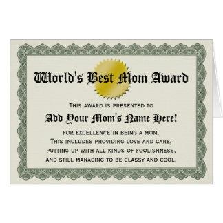 World's Best Mom Award Certificate Card