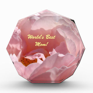 World's Best Mom! Award Plaque Pink Rose Flower