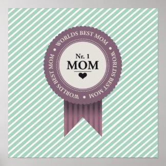 WORLDS BEST MOM BADGE PURPLE POSTER