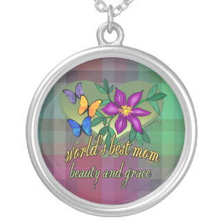 World's Best Mom Beauty and Grace Purple Plaid Silver Plated Necklace