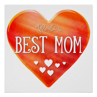 World's Best Mom | Big Red Heart Adorable Gift Poster