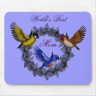 World's Best Mom Birds Flower Wreath Mousepad