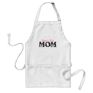 World's Best Mom Black with Pink Tulips Aprons