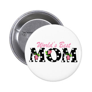 World's Best Mom Black with Pink Tulips Button