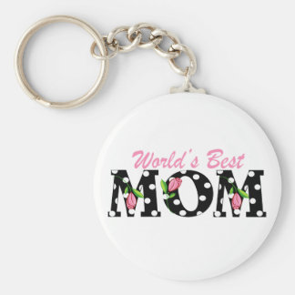 World's Best Mom Black with Pink Tulips Keychain