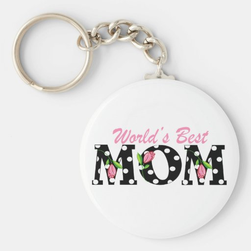 World's Best Mom Black with Pink Tulips Keychains