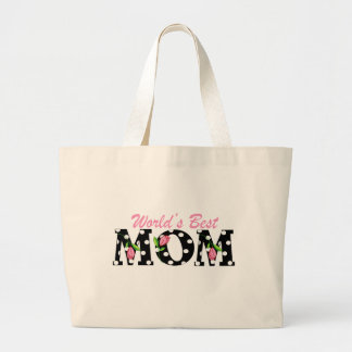 World's Best Mom Black with Pink Tulips Large Tote Bag