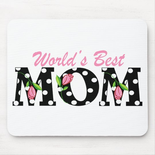 World's Best Mom Black with Pink Tulips Mouse Pad