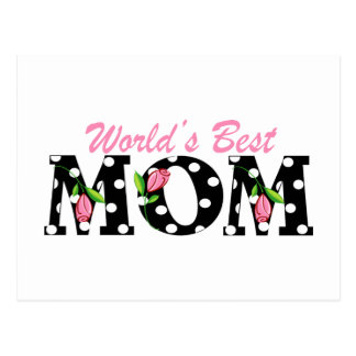 World's Best Mom Black with Pink Tulips Postcard