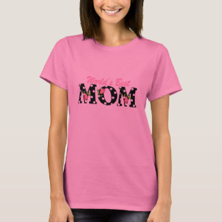 World's Best Mom Black with Pink Tulips T-Shirt