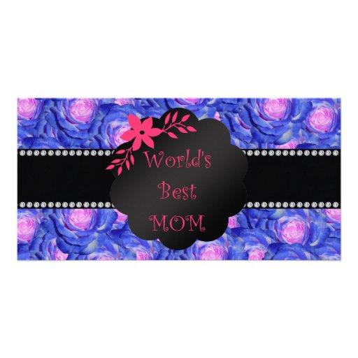 World's best mom blue roses photo card
