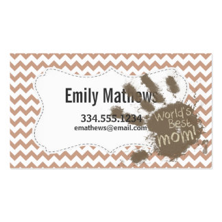 World's Best Mom; Brown Chevron Business Card