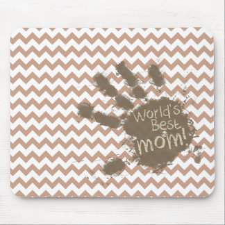 World's Best Mom; Brown Chevron Mouse Pad