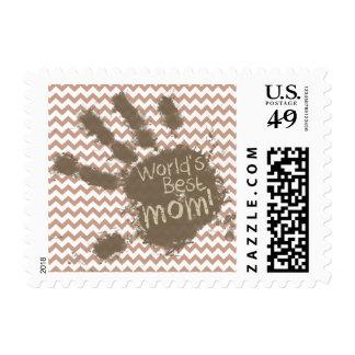 World's Best Mom; Brown Chevron Stamp