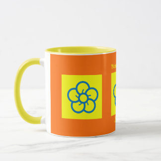 Worlds Best Mom Cartoon Flowers Orange Yellow Blue Mug