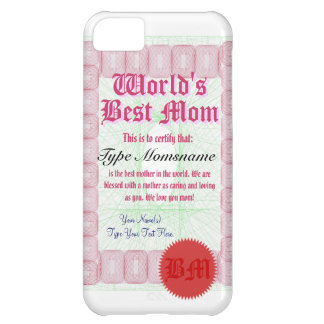 World's Best Mom Certicate Cover For iPhone 5C