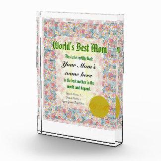 World's Best Mom Certificate Acrylic Award