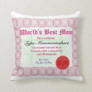World's Best Mom Certificate Award Throw Pillow