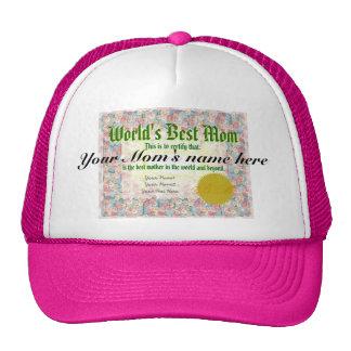 World's Best Mom Certificate Trucker Hat