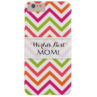 Worlds Best Mom, Chevron Stripes Neon Brights Barely There iPhone 6 Plus Case