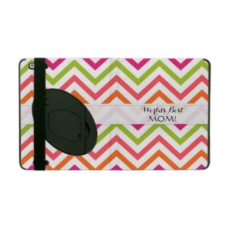 Worlds Best Mom, Chevron Stripes Neon Brights iPad Folio Case