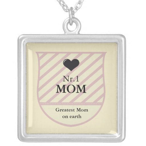 WORLDS BEST MOM CREST PINK YELLOW SQUARE PENDANT NECKLACE