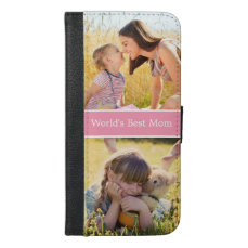 World's Best Mom Custom Photo Collage iPhone 6/6s Plus Wallet Case