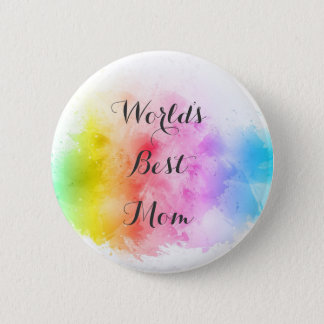 Worlds Best Mom, Cute abstract painted Button