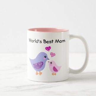 World's best mom cute bird & chick mug