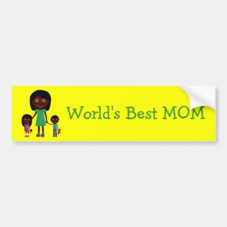 World's Best Mom Cute Ethnic Cartoon Characters Car Bumper Sticker